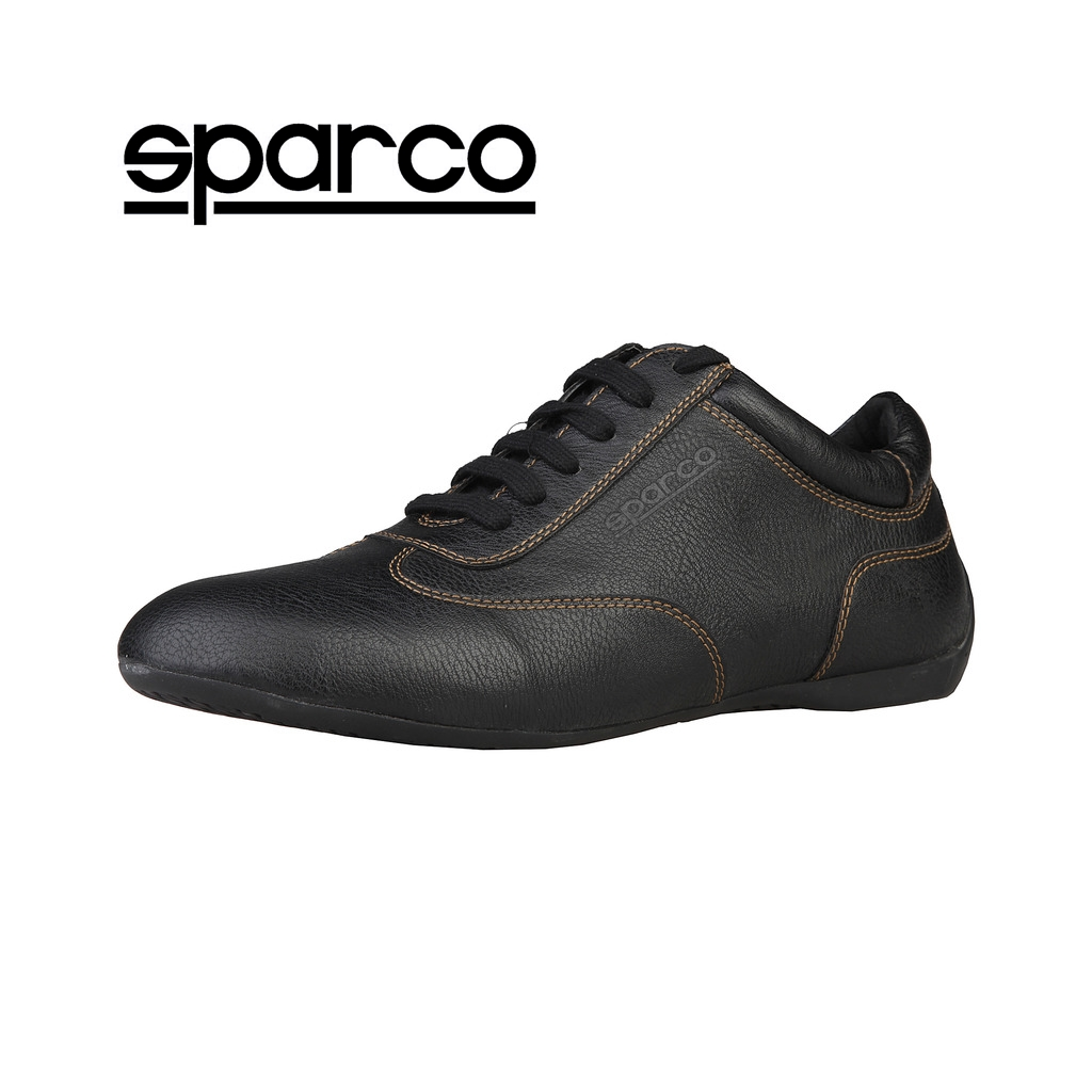 NEW Sparco Mens Black Leather Sneakers