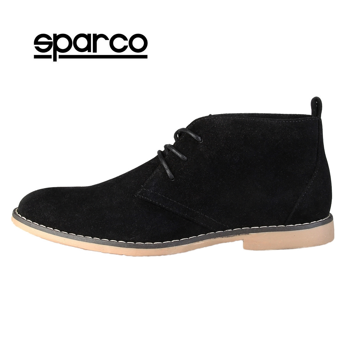390ce3870d5 Details about NEW Sparco Mens Black Suede Ankle Boots Lace Up Chukka Desert  Shoes Sale
